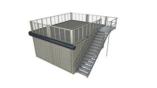 Móduloduplo de 20', com terraço no 1º piso e escada exterior