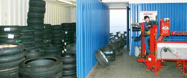 Contentor-armazém como armazém de pneus