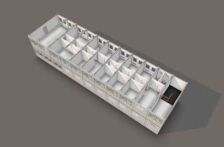 Instalação de contentores, 3D Beispiel - 320 m²