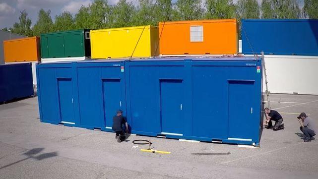 Montagem de construções modulares