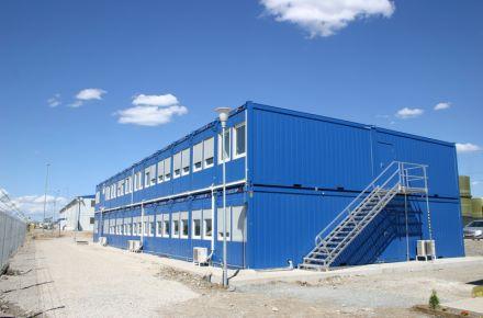 Alojamento dos trabalhadores, cantina e escritório de obra da central elétrica de ALSTOM, BG-Galabovo