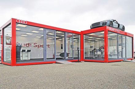 Espaço de vendas para a exposição «Audi Sport Messe» em Le Mans, França