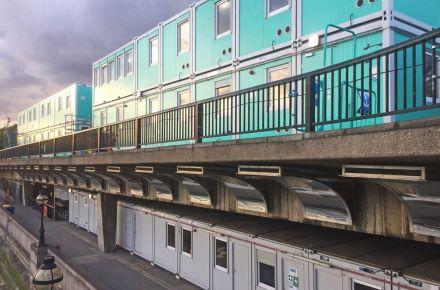 Escritório de obra para o túnel de Tideway em London, Inglaterra