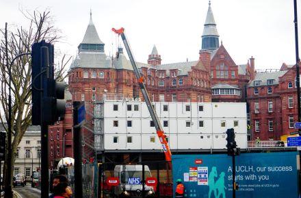Conjuntode contentores escritório de aluguer nosUniversity College London Hospitals, Londres-Inglaterra