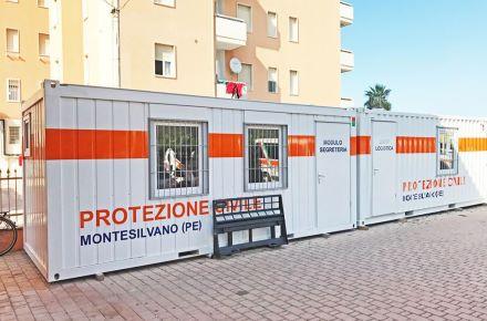 Contentor-armazém e contentor-escritório para a proteção civil italiana, Montesilvano, Itália