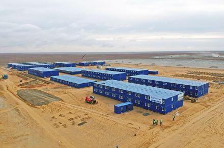 """Acampamento para funcionários da """"TCO-Velesstroy"""", Tengiz Sul, Cazaquistão"""