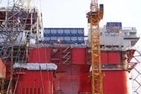 Salas de escritório e salas de estar da plataforma petrolífera de Bautas, NO-Bergen