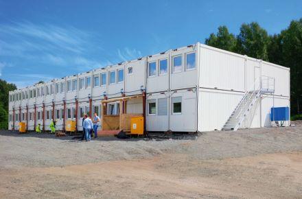 Instalação de escritórios de estaleiro de obras, incl. sala de reuniões, cantina e áreas sanitárias, em Sandefjord, Noruega