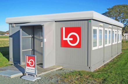 Escritório de obra no aeroporto, Brekstad, Noruega