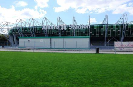 Contentor-escritório para estádio de futebol, em Viena, Áustria