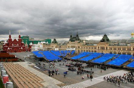 Contentor de eventos na Praça Vermelha, Moscovo, Rússia
